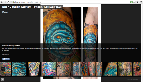 A screen capture of Brian Joubert's online tattoo gallery