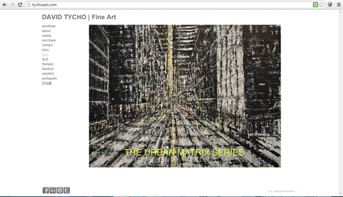 A screen capture of the front page of David Tycho's website
