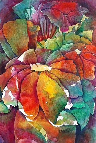 A watercolour painting of numerous flowers