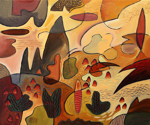 An abstract landscape painting with deep orange and red tones