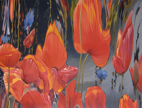 A painting of poppies distorted and melting