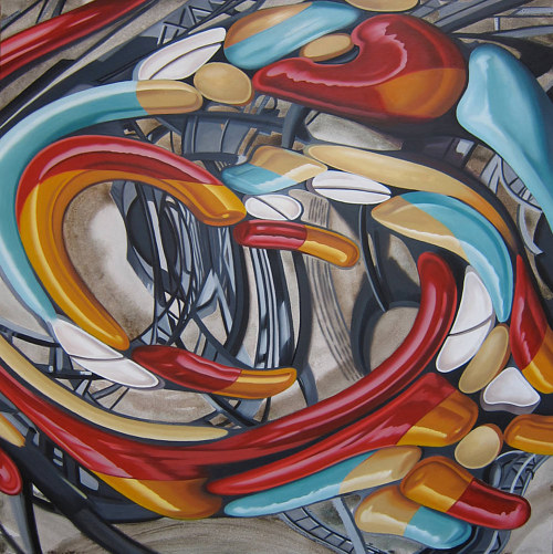 A distorted painting of pill capsules and tablets