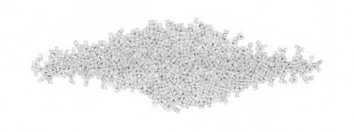 An abstract drawing made up of many small lines forming an large shape