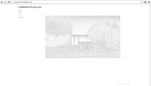 A screen capture of Cameron McLellan's website front page