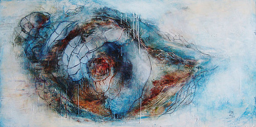An abstract encaustic work with the appearance of a nautilus