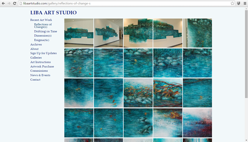 A screen capture of a recent painting series on Liba Labik's website