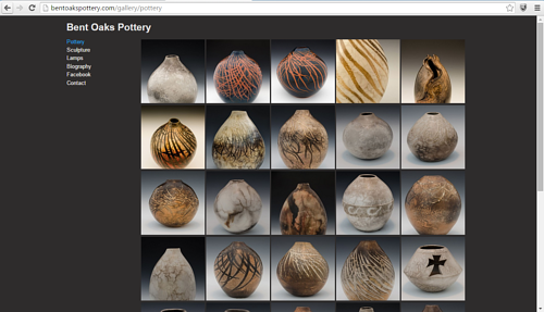 A screen capture of ceramic works on the Bent Oaks Pottery website
