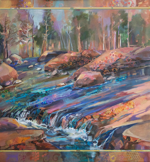 A painting of water flowing over a sheet of flat rock