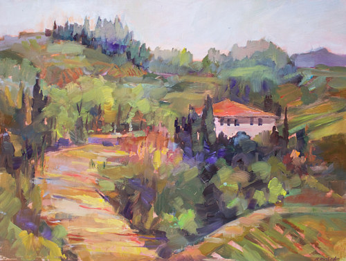 A painting of a house on a hill in Tuscany