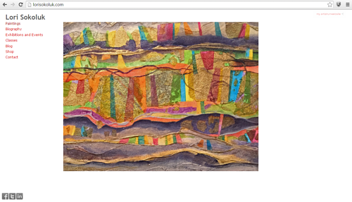 A screen capture of the front page of Lori Sokoluk's art website