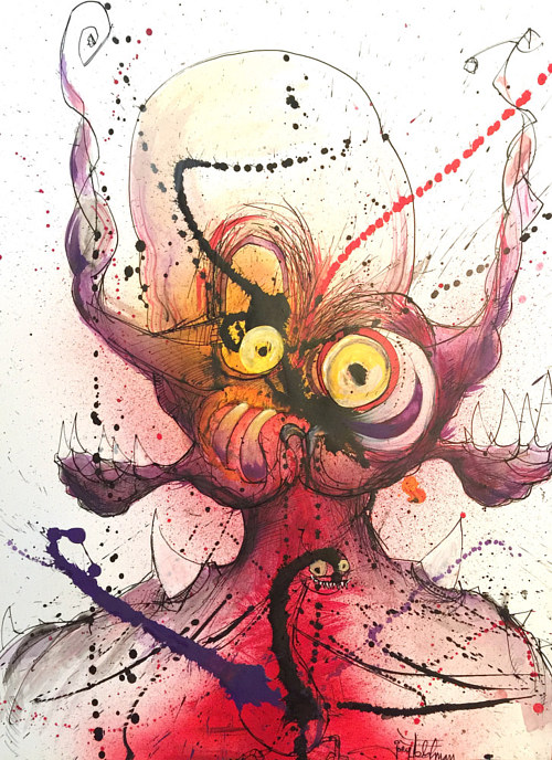 A mixed media drawing of a strange, alien figure