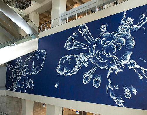 A chalk and enamel mural painted in the Dallas Cowboys stadium