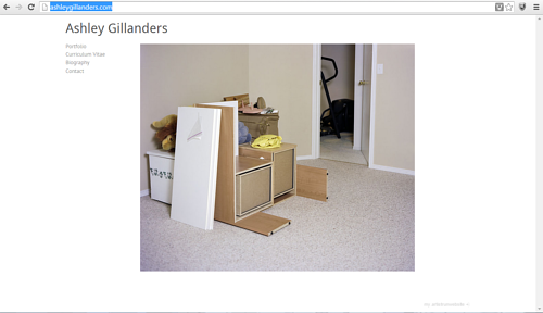A screen capture of the front page of Ashley Gillanders' website