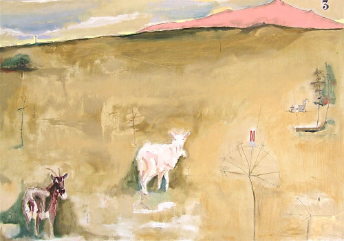 An oil on board painting of several sheep in a brown field