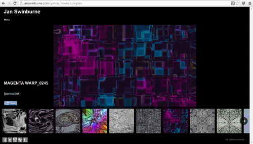 A screen capture of Jan Swinburne's art website