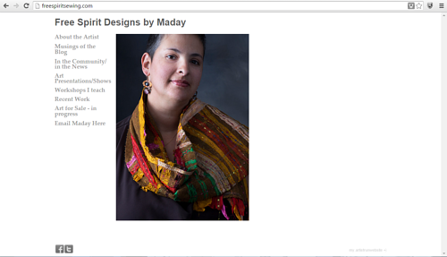 A screen capture of the front page of Maday Delgado's website
