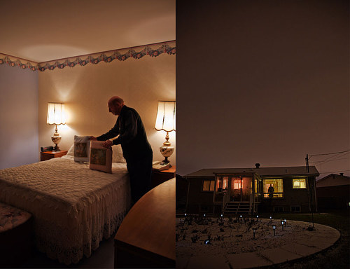 A photographic diptych of an old man in his home