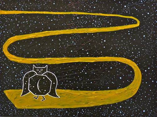 A painting of an owl walking along a yellow path over a starry background
