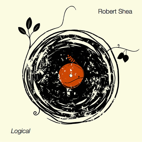 "An album cover for Robert Shea's ""Logical"" with a vinyl record made from branches"