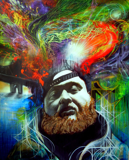 A painting of Action Bronson on an abstracted background