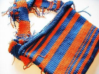 A blue and orange striped hand-made portfolio bag