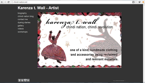 A screen capture of Karenza T. Wall's Chindi Nation art website