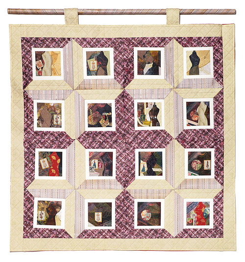 An image of a quilt with different photographs sewn into it