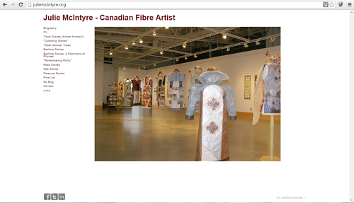 A screen capture of Julie McIntyre's art website