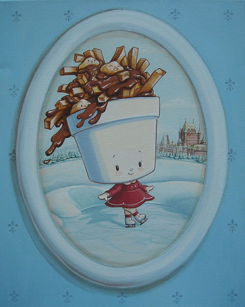 A painting of poutine wearing a dress and walking on ice