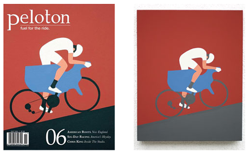 A cover for Peloton Magazine next to the original painting by Geoff McFetridge