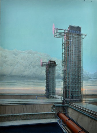 A surreal painting of two mysterious buildings against a blue sky