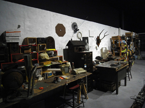 A photo of Naim June Paik's studio workplace
