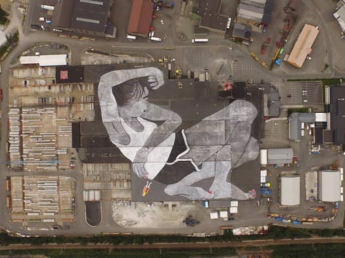 A photo of Ella  and Pitr's 21,000 square meter mural in Norway