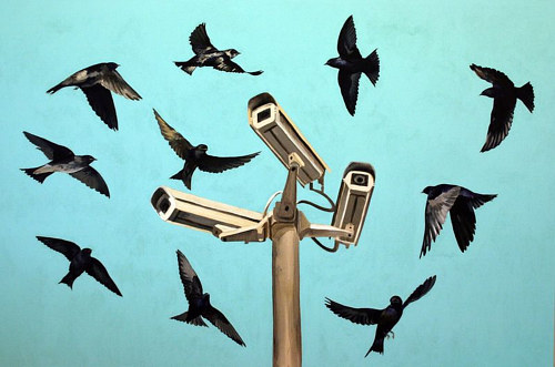 A painting of a flock of birds circling several security cameras