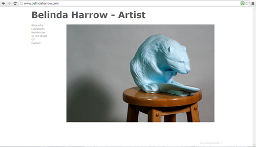 A screen capture of the front page of Belinda Harrow's website