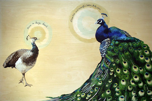 A painting of a mating pair of peacocks expressing human online dating cliches