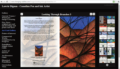 A screen capture of the Art Cards gallery on Lawrie Dignan's website