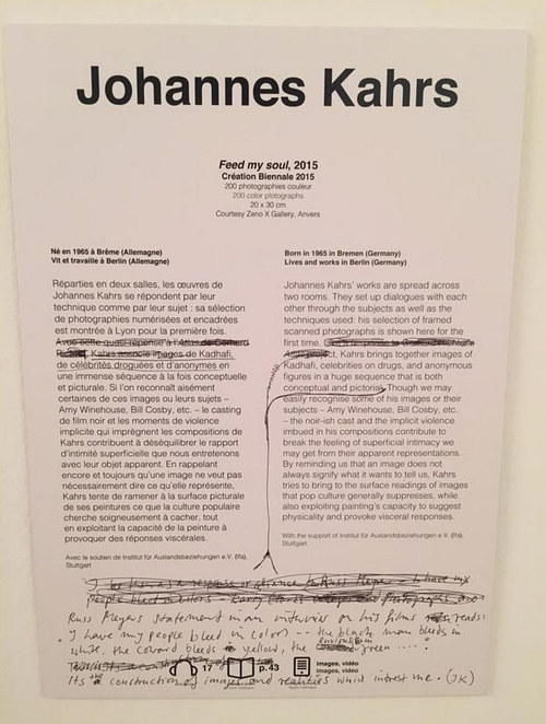A photo of an edited write-up at the Lyon Biennale