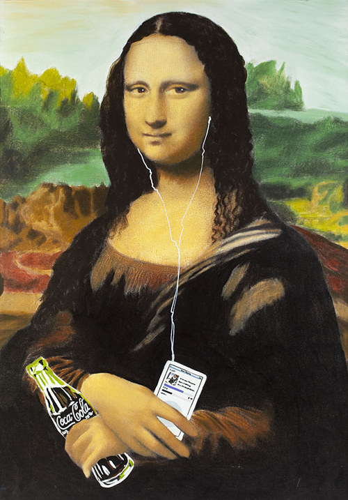 A painting of the Mona Lisa holding a bottle of Coke and an mp3 player