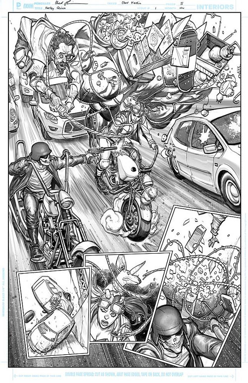 A page from a Harley Quinn comic, featuring a motorcycle chase