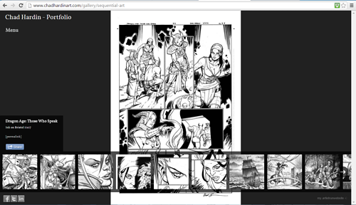 The sequential art gallery on Chad Hardin's website