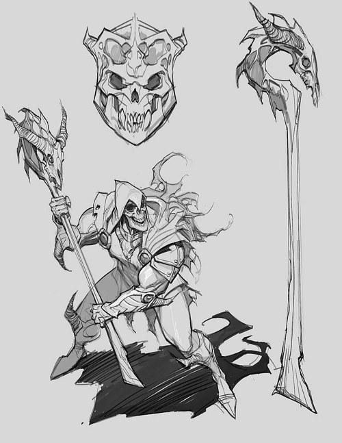A page of concept art for a Skeletor redesign