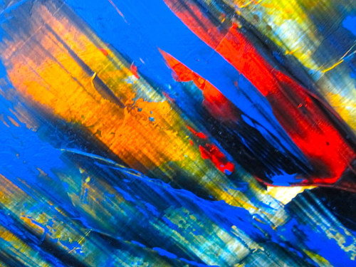 A red and blue saturated abstract painting