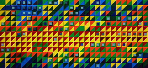 mosaic grid of colorful shapes