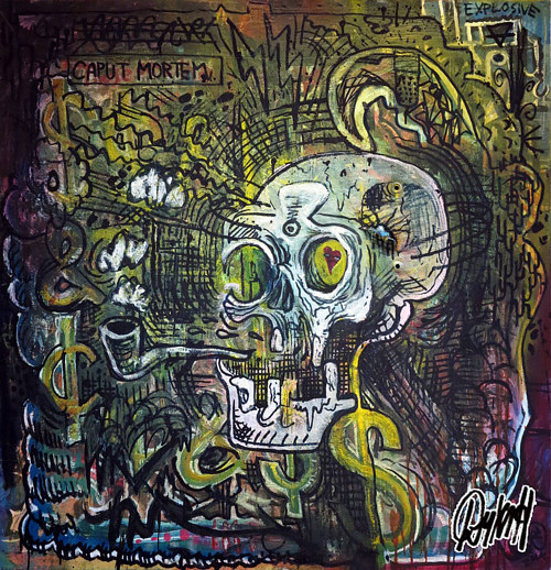 A painting of a skull smoking a pipe on an abstract background