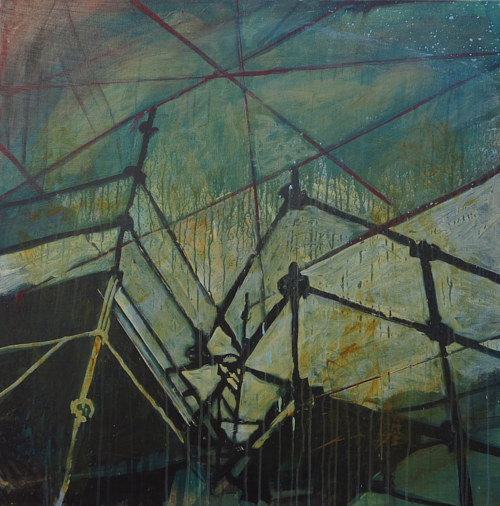 A painting of some scaffolding viewed from below