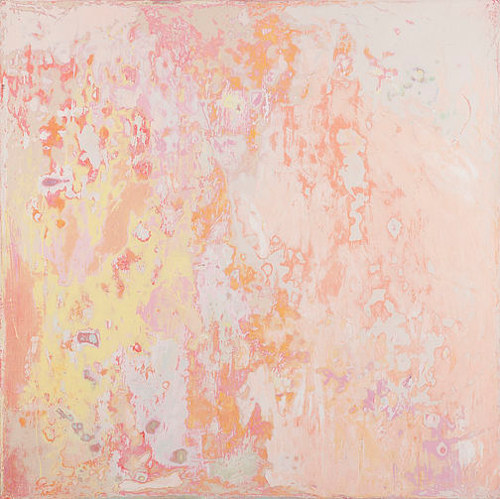 An abstract painting composed of a textured light pink canvas