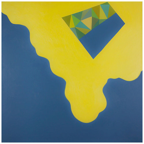painting with blob like yellow paint on dark ground with an geometric polygon