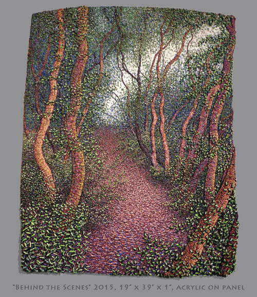 A painting of a forested pathway made with small brushmarks
