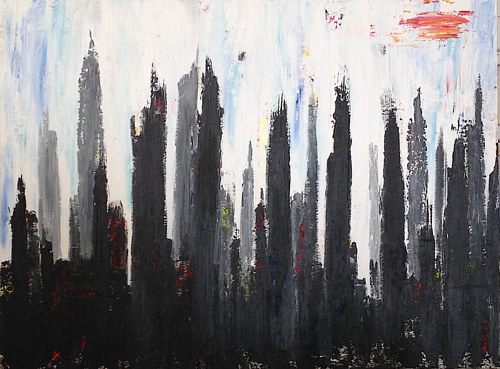 A painting of a black city skyline